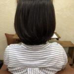 都内有名店に通われていたお客様。毛先も曲げて内巻きボブに♪自然でやわらかい縮毛矯正。熊谷市の髪質改善美容室ハルト